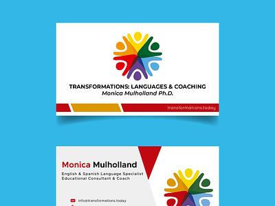 Transformations: Languages & Coaching Business Card logo business card design branding