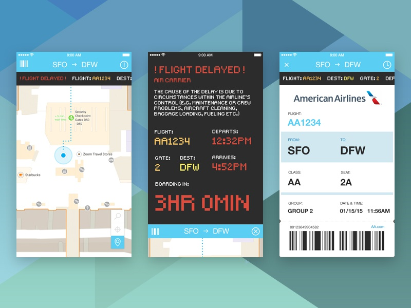 Airport App airport air port app ios iphone ui ux sfo dfw flying flight