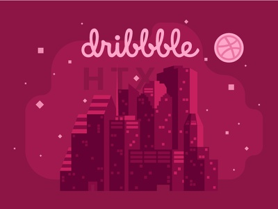 Announcing: Dribbble Meetup Houston community vector design abstract skyline houston texas illustration meetup meet-up dribbble
