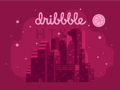 Announcing: Dribbble Meetup Houston community vector design abstract skyline houston texas illustration meetup meet-up dribbble