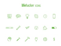 Lifehacker Icons Set world thinking brain computer bulbs ideas gears time tools search outlines iconography icons show electricity maintenance save lifehacker hack life