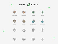 Project Earth Icons Set conservation global warming fusion media group fmg fusion project earth ocean degradation extinction agriculture climate change icon outlines iconography icons planet earth project