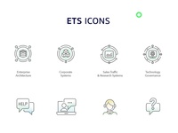ETS Icons Set icons set icons design information technology it internet help governance technology systems research sales traffic corporate systems architecture corporate enterprise networking icon iconography outline icons