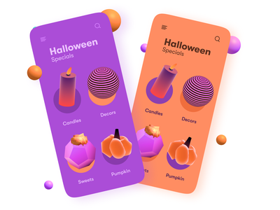 Halloween Gift App modern 2021 trend 3d modeling 3d icon 3d icons 3d art gift shop gift celebration scary orange purple sweets candles pumpkin shopping app online shop halloween shop halloween design halloween