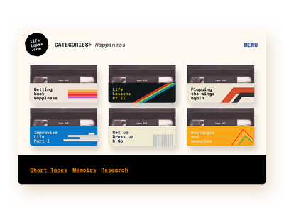 Soul Tapes - Motivation Website 2021 trend webdesign retrowave minimal illustration typography cleanui modern 2d 3d audiotape casette podcast tape motivational motivation retro design retro vhs