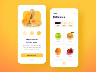 Growbag - Fruits & Grocery App typography 3d grow glassmorphism glassy modern orange fruits and vegetables online food apps food app grocery store fruits vegetables grocery app grocery groceries