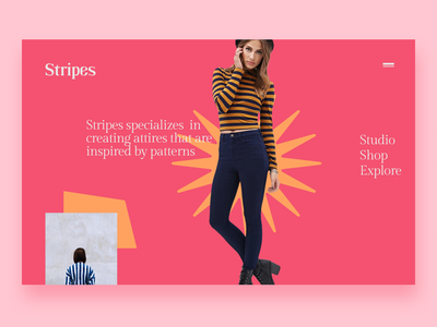 Stripes - Fashion Website kinetic typography clean red minimal gridless ecommerce clothes shop pattern stripes girl women fashion women style women woman style fashion website fashion brand fashion clothes