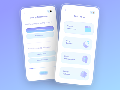 Inner Peace - Mental Wellness app blue illustration cleanui assessment test purple modern glassmorphism 3d insomnia mentalhealth mental health wellness app health app health wellbeing wellness