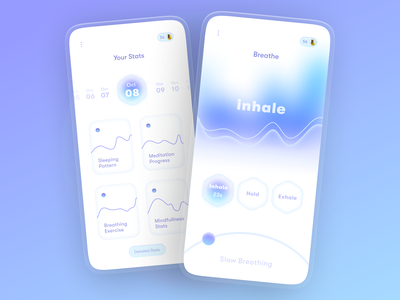 Inner Peace - Mental Wellness app activity tracker inhale purple app minimal typography cleanui glassmorphism 3d sleep tracker sleep app health wellness mental health awareness mental health mental