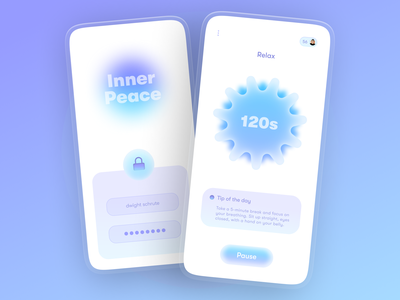 Inner Peace - Mental Wellness app unlock illustration modern purple glassmorphism 3d mental health awareness mental health mediation health care health mental wellness app health app wellbeing wellness center wellness