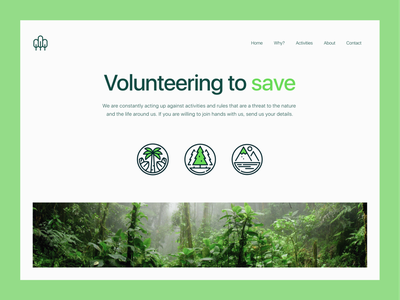 Conserve - Donation & Volunteership Website minimal typography cleanui modern donate green conservation volunteership volunteering volunteer endangered species endangered nature conserveation nature photography nature conserve