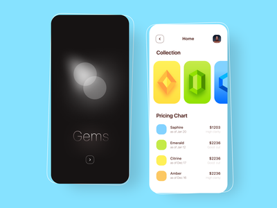 Gems - Jewellery app saphire pearl fire modern cleanui minimal jewelry store stone precious geometric birthstone jewelry jewels jewellery shop jewellery diamond gemstones gemstone gems