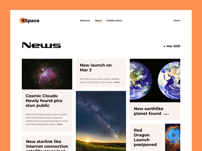 XSpace - Space Agency Website cleanui modern minimal tesla rover spaceagency aerospace planet nebula news newsfeed rocket spacex nasa spaceship spacetechnology spacetech space