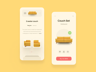 Niture - Furniture App yellow 3d modern minimal new design online shopping home decor utensils homeappliance product detail page product page online store online shop furniture store furniture design furniture app furniture