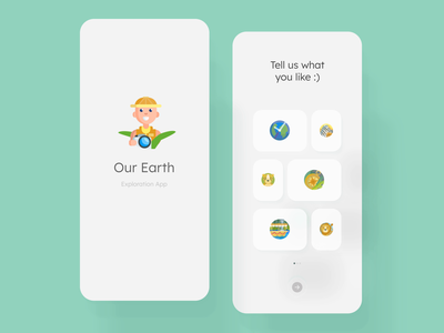 Our Earth - Exploration App cleanui nature travel app travel tourism selection mobile ui icon animation loading animation loading splash screen interactive interaction interaction design ui animation motion graphics mobile animation animation