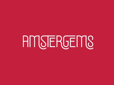 AMSTERGEMS flat minimal vector identity design branding typography logo lettering type
