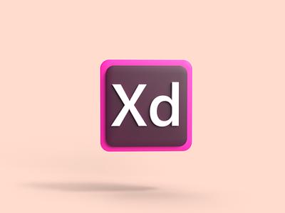 3D logo of Adobe XD in Adobe Dimensions icon 3d illustration logo design