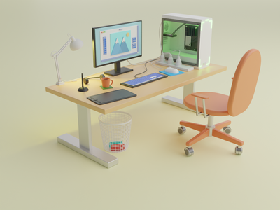 Work Desk headphones tablet computer 3d desk work desk 3d blender