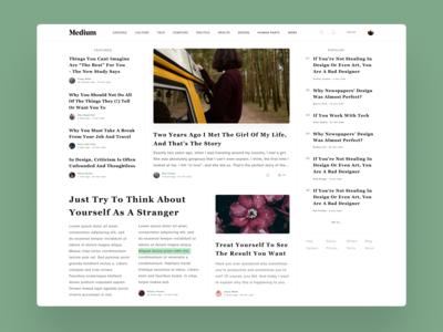Medium Homepage design concept