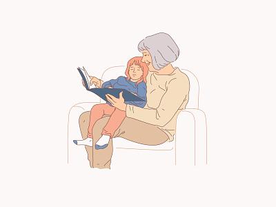 Reading fairytales design minimal illustration flat vector