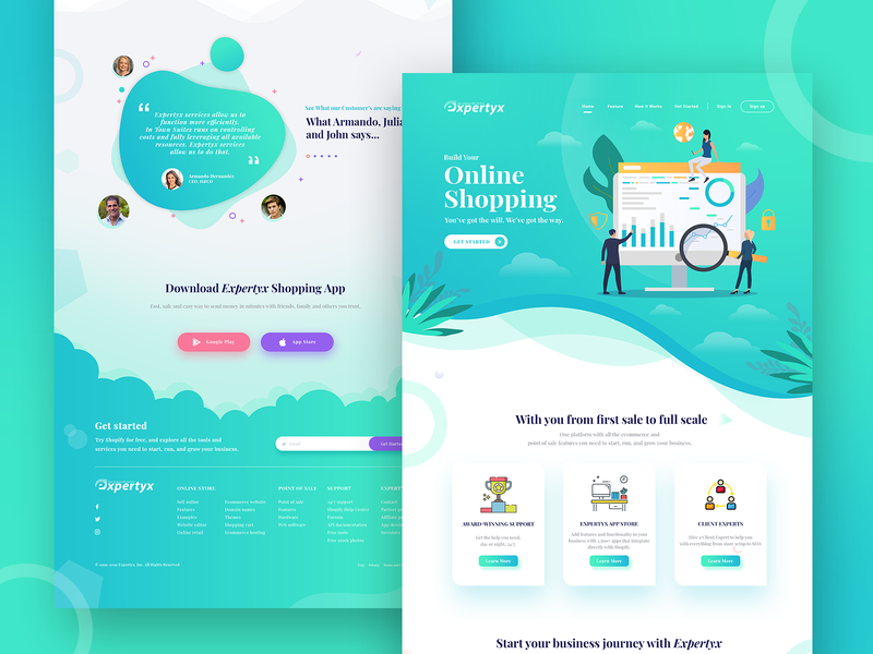 Concept Landing page for Expertyx onlineshopping concept design colortrend webdesign web ux web ui web design ui typography minimal landing page concept landing page interface landing interaction design gradient experience dribbble best shot design trend 2019 design branding