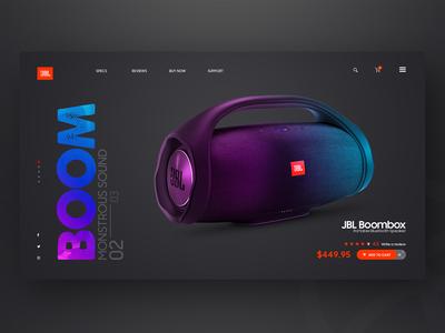 JBL Boom Landing page Web UI