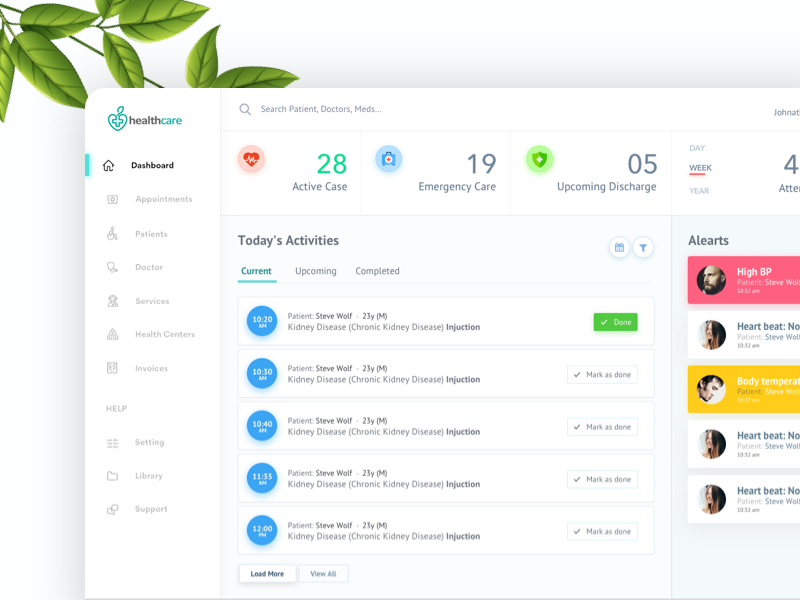 Health Dashboard user experience ux clean listing mobile app dashboad health dashboard