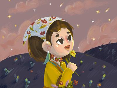 Night Girl stars girly night girl illustration girl character illustration