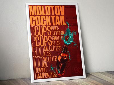 Molotov Cocktail Recipe anarchy poster illustration recipe cookbook molotov molotov cocktail anarchist guerrilla