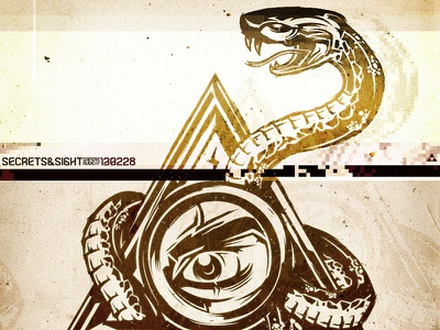 Secrets & Sight Poster snake illuminati illustration glitch grunge vector