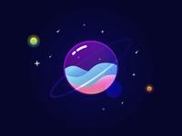 Space fantasy vector illustration flat design