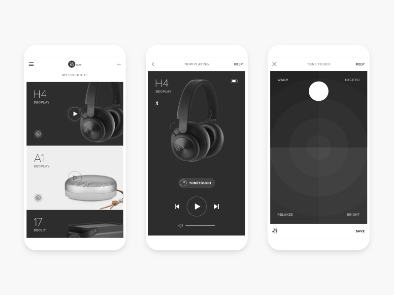 BeoPlay App Concept white black redesign music concept app