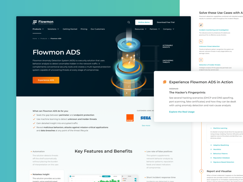 Flowmon | ADS Product Overview ui design ui design website web design product page detail modern design network security