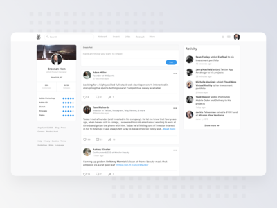Social Concept Design for AngelList