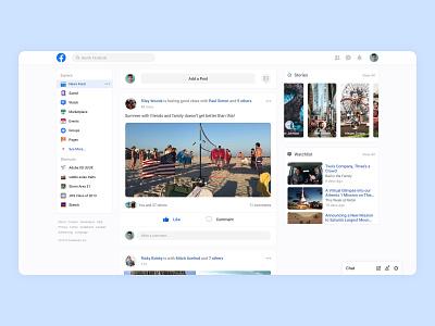 Facebook Website Redesign Concept 2019/2020 concept social social network messaging linkedin yelp newsfeed twitter social media social app instagram stories instagram facebook banner facebook ads facebook