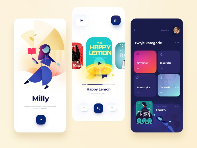 millyAPP ui design uidesign uiux app vector ui ux illustraion geometry