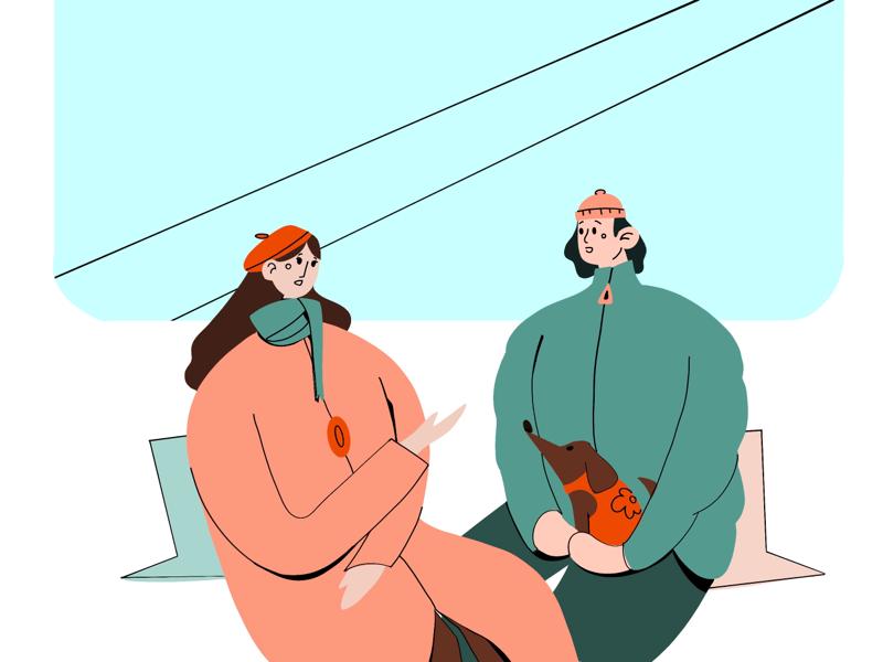 Random people on metro train artwork drawing conversation couple people random metro procreate art procreate doggo dog illustration