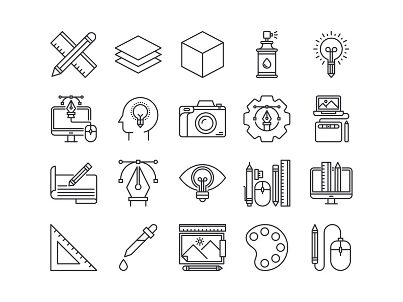 Graphic Design Icons Set (Line) system icon label icon design illustrations iconography outline line app icon bundle graphic design web branding illustration icon a day ui icons icon graphic design icons design graphic
