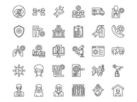 Virus Transmission Icons Set illustration icon a day user interface collection icon set icons icon pixel perfect outline line covid 19 covid-19 corona virus