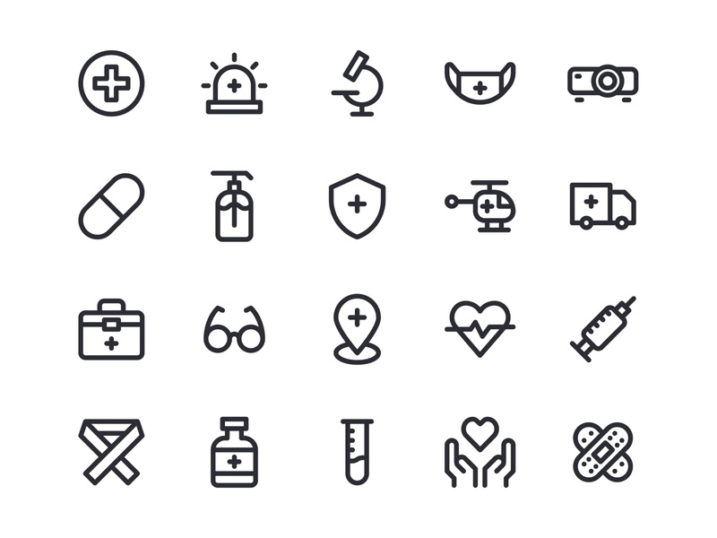 Medical Icons inspiration design outline line iconography medical icons interface user pixel perfect icon app graphic design icon a day web icon set app vector ux ui icon