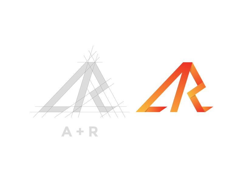 Letter AR Logo logo inspirations design lettering shadow minimalist modern vector r a grid construction gradient yellow orange monogram logos logo initials initial letter