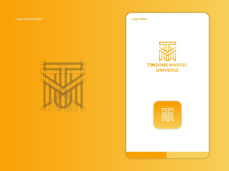 Tim2one Marvel Universe Logo Redesign Concept brand minimalist app icon modern ux ui vector identity graphic design brand rebranding logo mark logo constructioin orange gradient mcu marvel clever logo design redesign