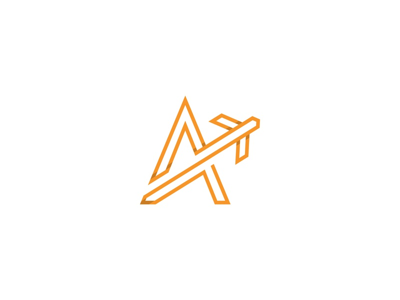 A Air Logo letters modern monogram simple airplane agency flying fly air graphic design branding design brand vector minimalist logos logo identity clever logo aviation