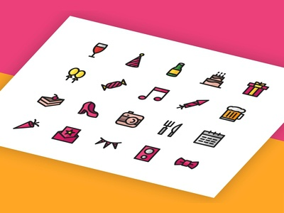 Party Icon Set - Filled Line Style