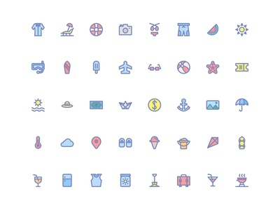 Summer Icons (Filled Line)