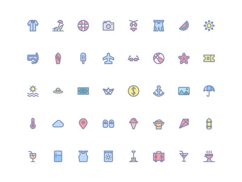 Summer Icons (Filled Line) graphic  design user interface experience user interface ux ui web app icon bundle icon artwork icon a day icon app symbol icon flag logo symbol button holiday beach summer flat filled line