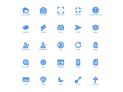 User Interface Icons (Blue Filled Line)