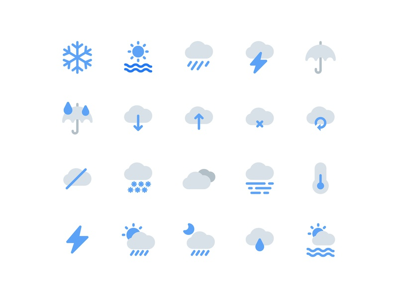 Weather Icons (Flat Style) icon set icon bundle icon a day user interface icon app web minimalist graphic design modern vector ui icon water rainy rain blue flat icon flat winter weather