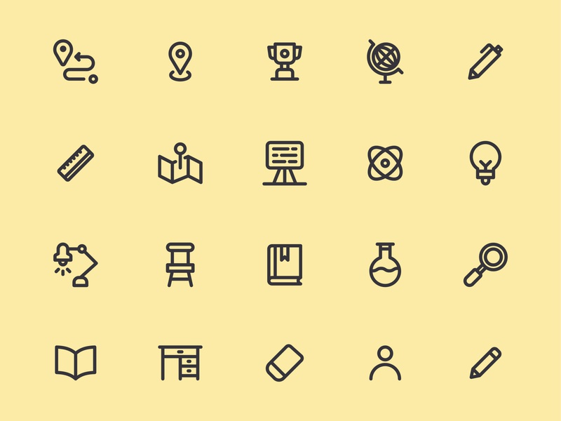 Back to School Icons backpack icon design user interface pixel perfect outlines outline back to school flyer back to school iconography icon a day icon app graphic design app web modern icon set vector ux icon ui