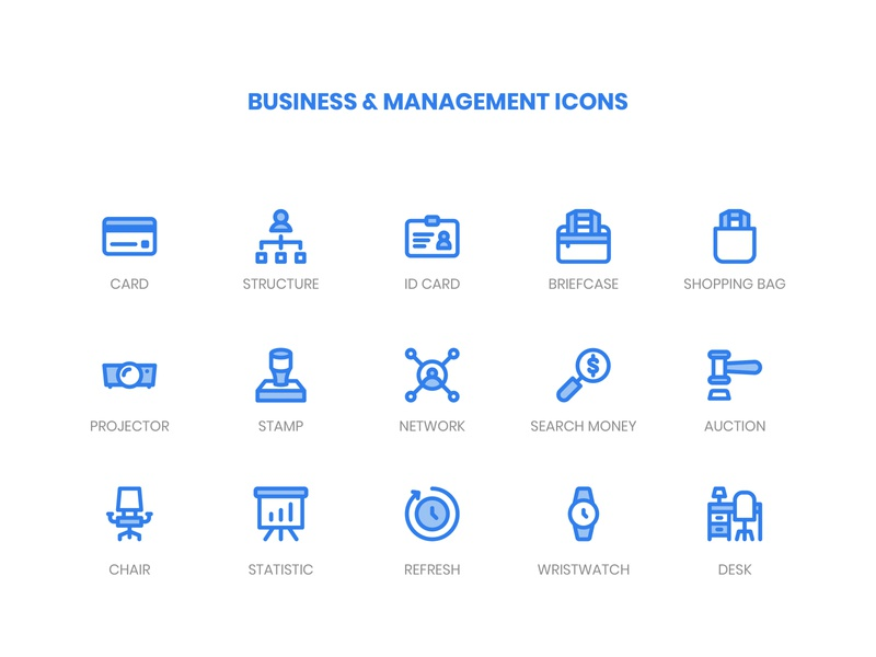 Business & Management Icons blue outline filled line website icon pack icongraphy management business minimalist graphic design icon bundle icon app icon a day web modern icon set vector ux icon ui